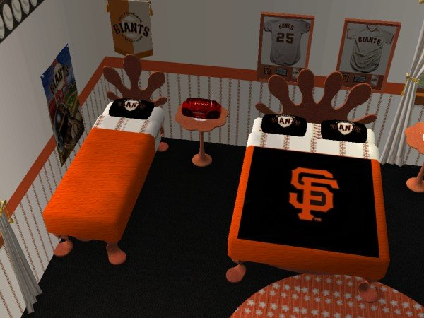 mod the sims - sanfrancisco giants nursery and bedroom (requested