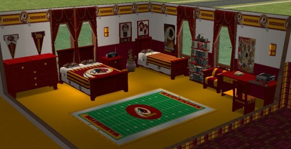 Mod The Sims Washington Redskins Bedroom And Living Room For