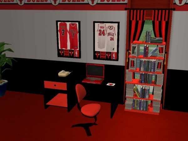 Mod The Sims Chicago Bulls Bedroom For Cja1113
