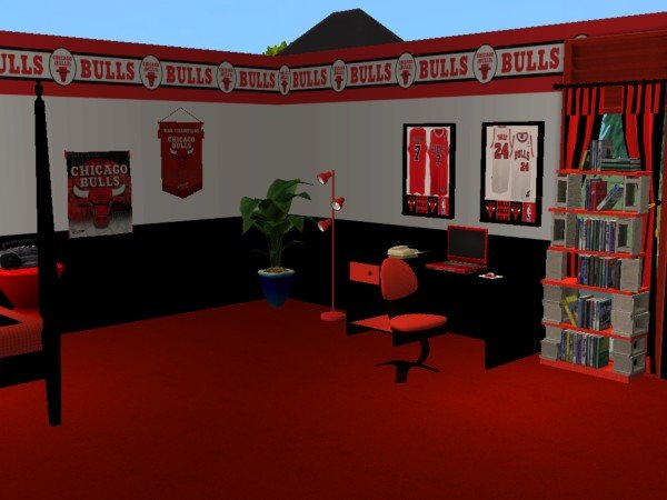 Mod the sims chicago bulls bedroom for cja1113 for Chicago blackhawk bedroom ideas