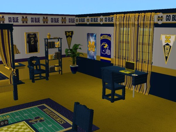 Mod The Sims Michigan Wolverines Bedroom For Snickerwhack27