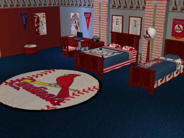 mod the sims st louis cardinals baseball bedroom requested. Black Bedroom Furniture Sets. Home Design Ideas