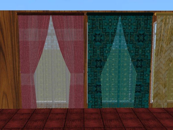 Mod The Sims Double and Single wide Curtains with Matching Rugs