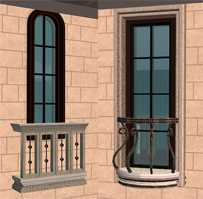 Mod the sims classical windows with stone surrounds for Sims 4 balcony