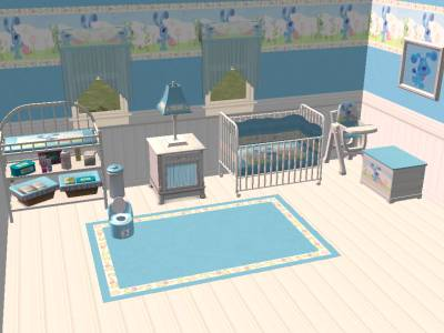mod the sims  blue's clues white wood nursery sets pink  blue,