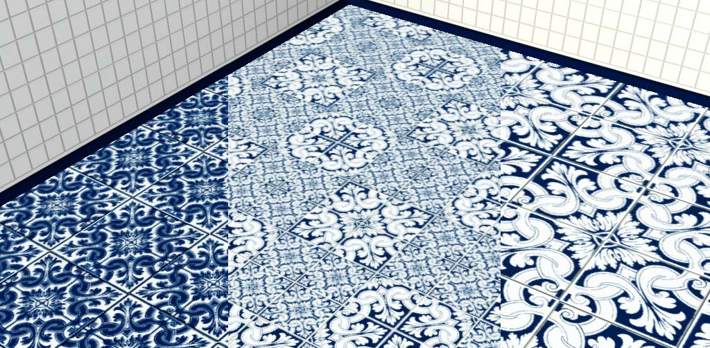 Woodworms Pattern Typical Spanish Tiles And Glass 3D Balls On