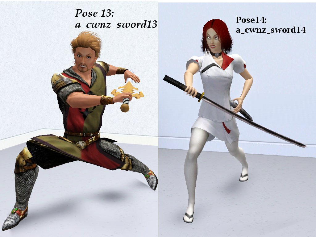 Mod The Sims - A collection of 14 poses using sword (updated 10/06/11)