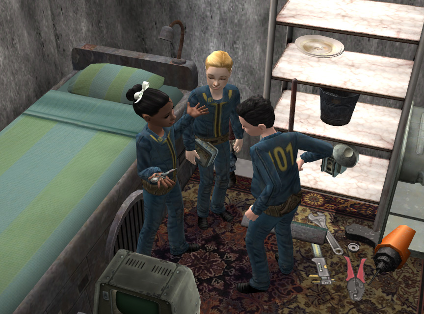 Mod the sims fallout vault 101 child suits for Fallout 4 bedroom ideas