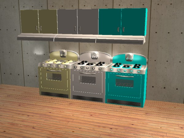 Kitchen stoves and ovens - Mod The Sims Retro Stove Oven Sets