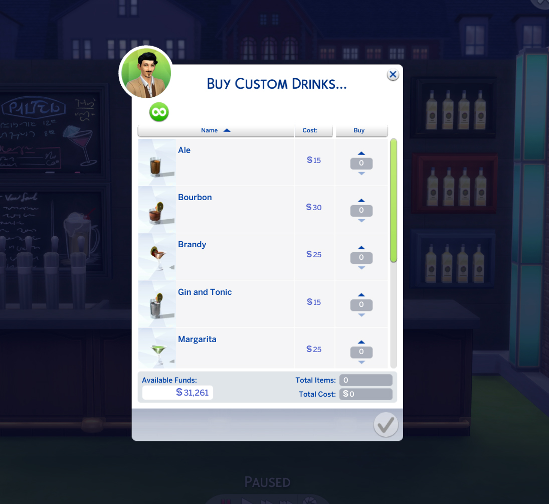 mod the sims custom bar drinks updated 20 jan 2017. Black Bedroom Furniture Sets. Home Design Ideas