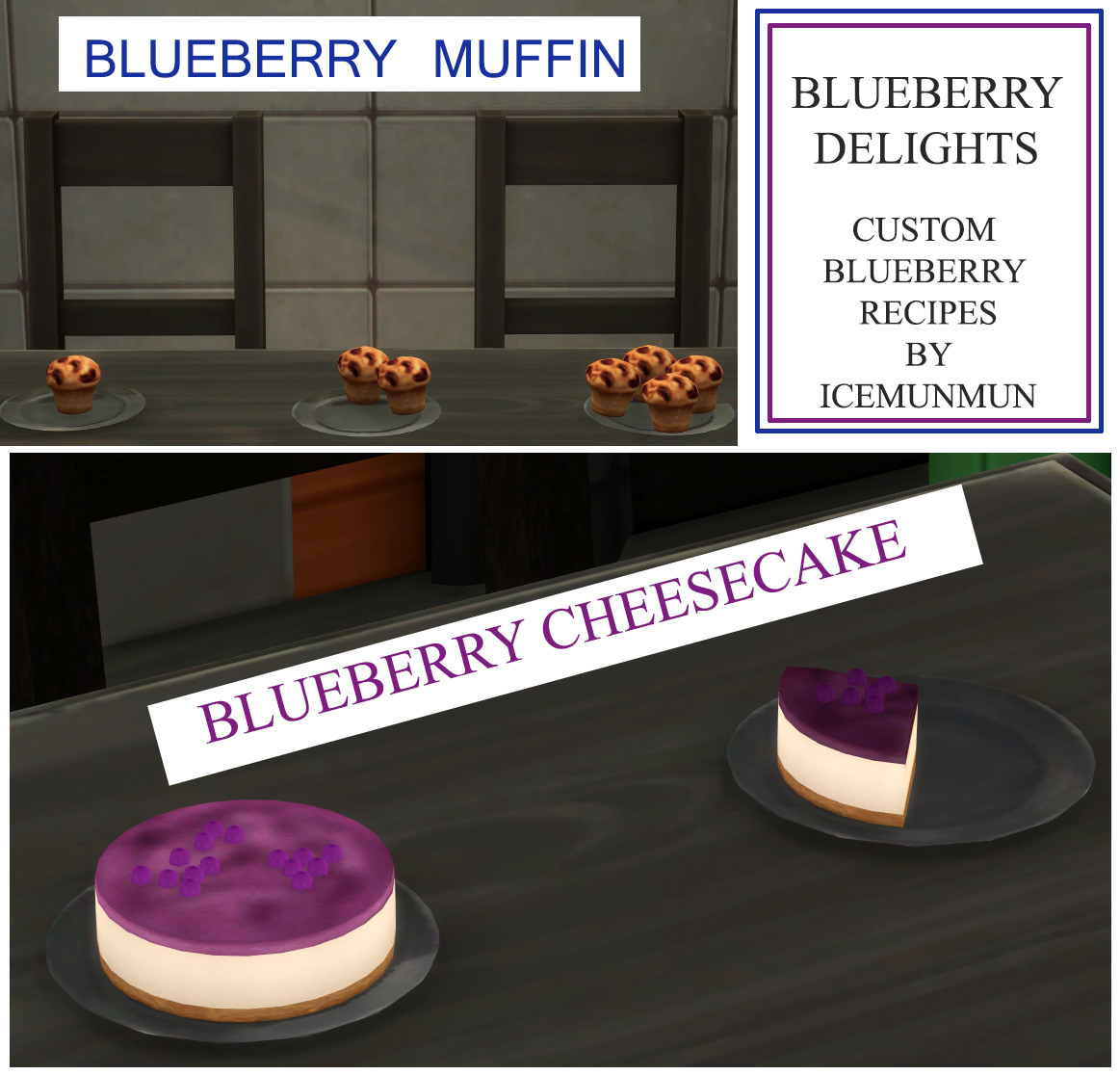 Mod The Sims - Blueberry Delights - Cheesecake and Muffin