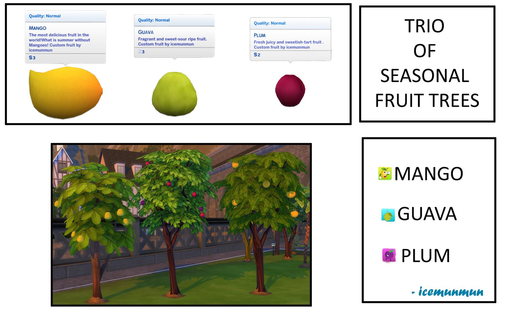 Mod The Sims - Harvestable Season fruit tress - Mango, Guava