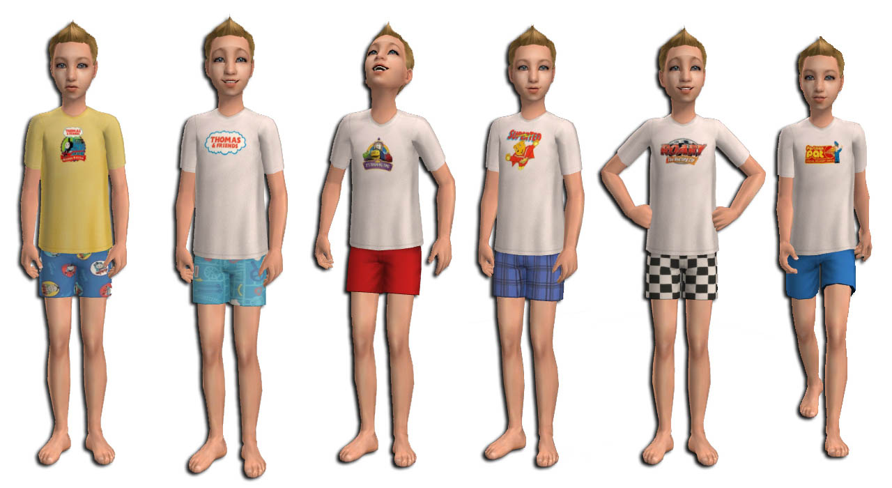Mod The Sims Boys Licensed Pjs With Abc Characters