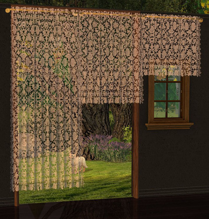 brown lace curtains