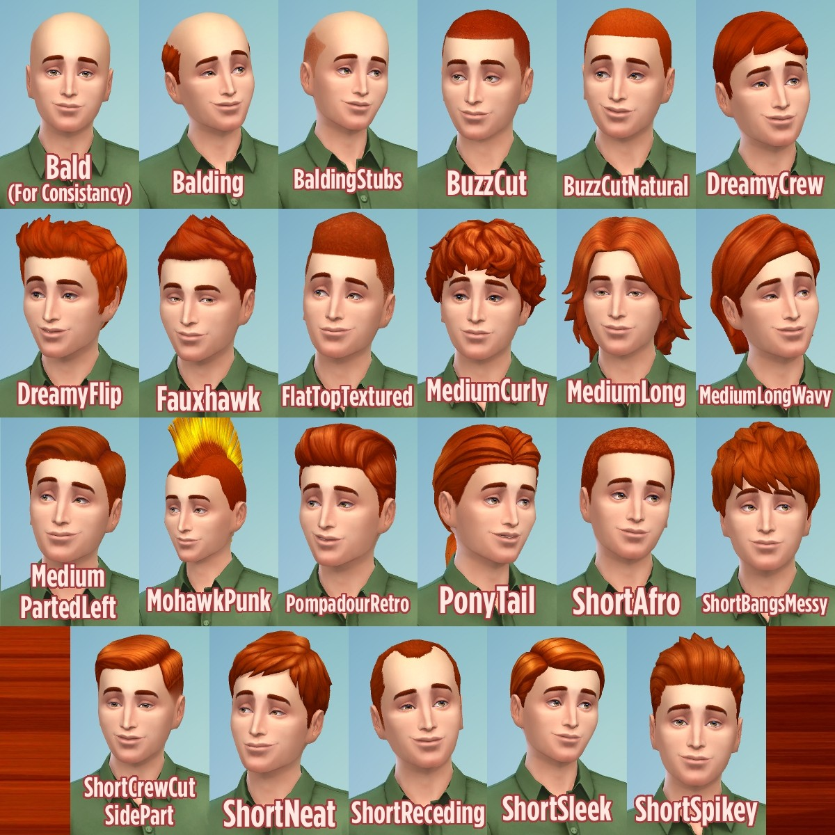 Mod The Sims Ginger All The Hairs Male Edition
