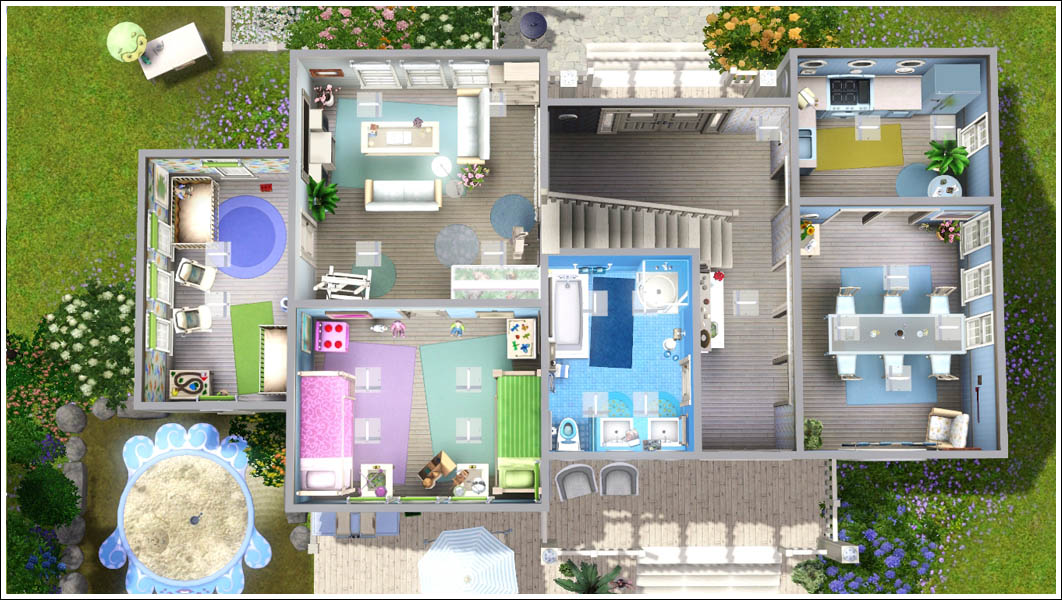 Sims 3 family home floor plans for Sims 4 floor plans