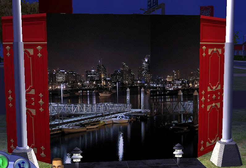 Mod the sims nighttime cityscape murals for City scape mural