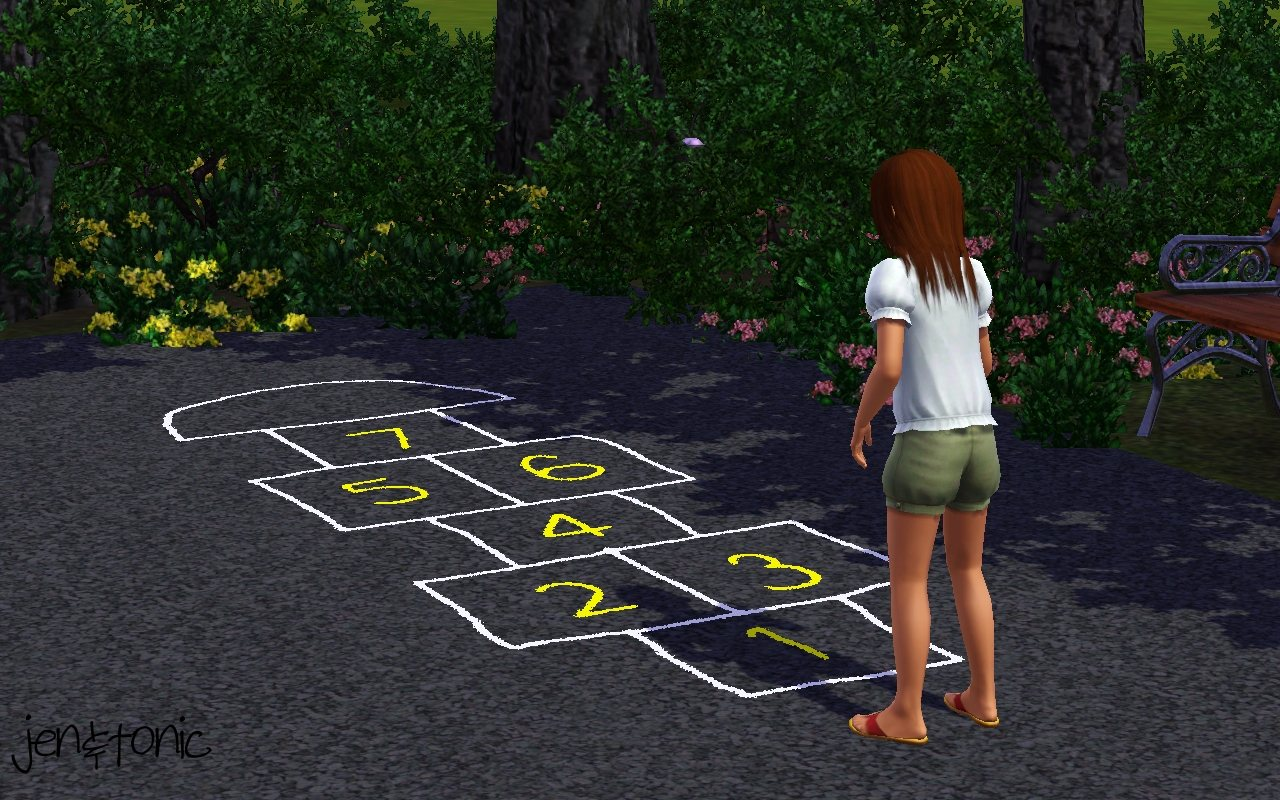 Mod The Sims - Chalk Hopscotch Court +DEFAULT