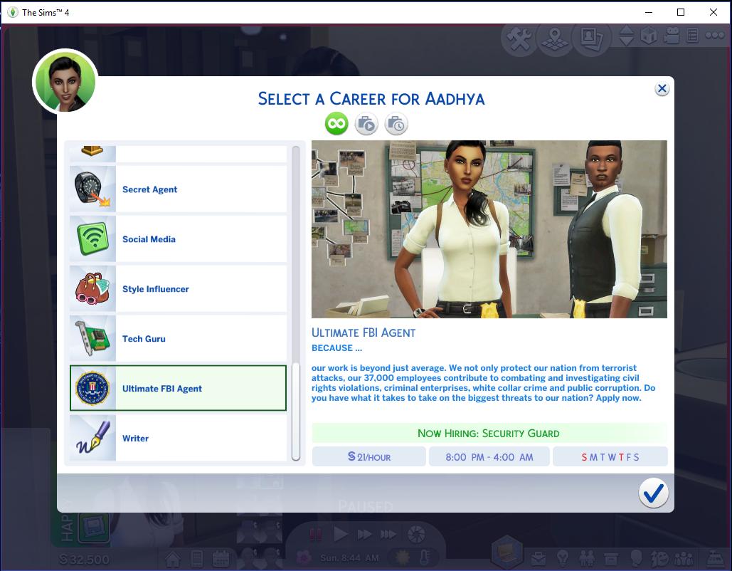 Mod The Sims - Ultimate FBI Agent Career