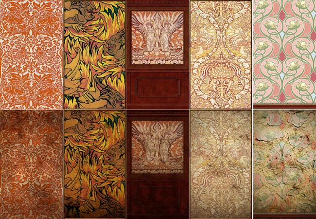 Mod The Sims - Art Nouveau Walls Set 6 - Red