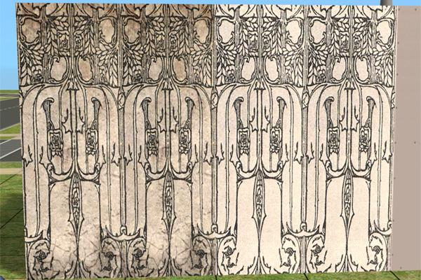 Mod The Sims Art Nouveau Walls Black Amp White 2