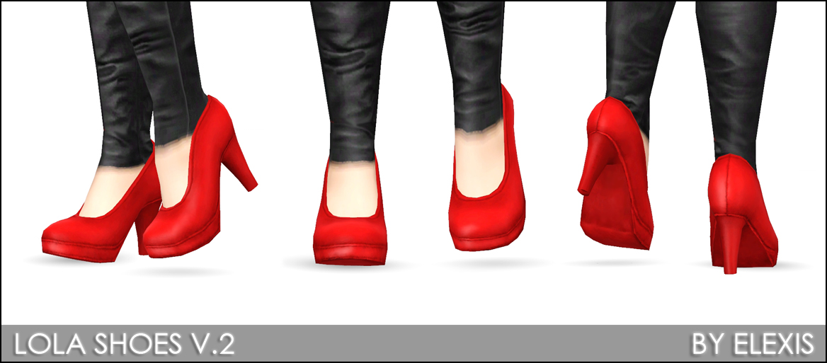 "Mod The Sims - ""Lola"" - Sexy 3D Heels for Females (2 Versions)"