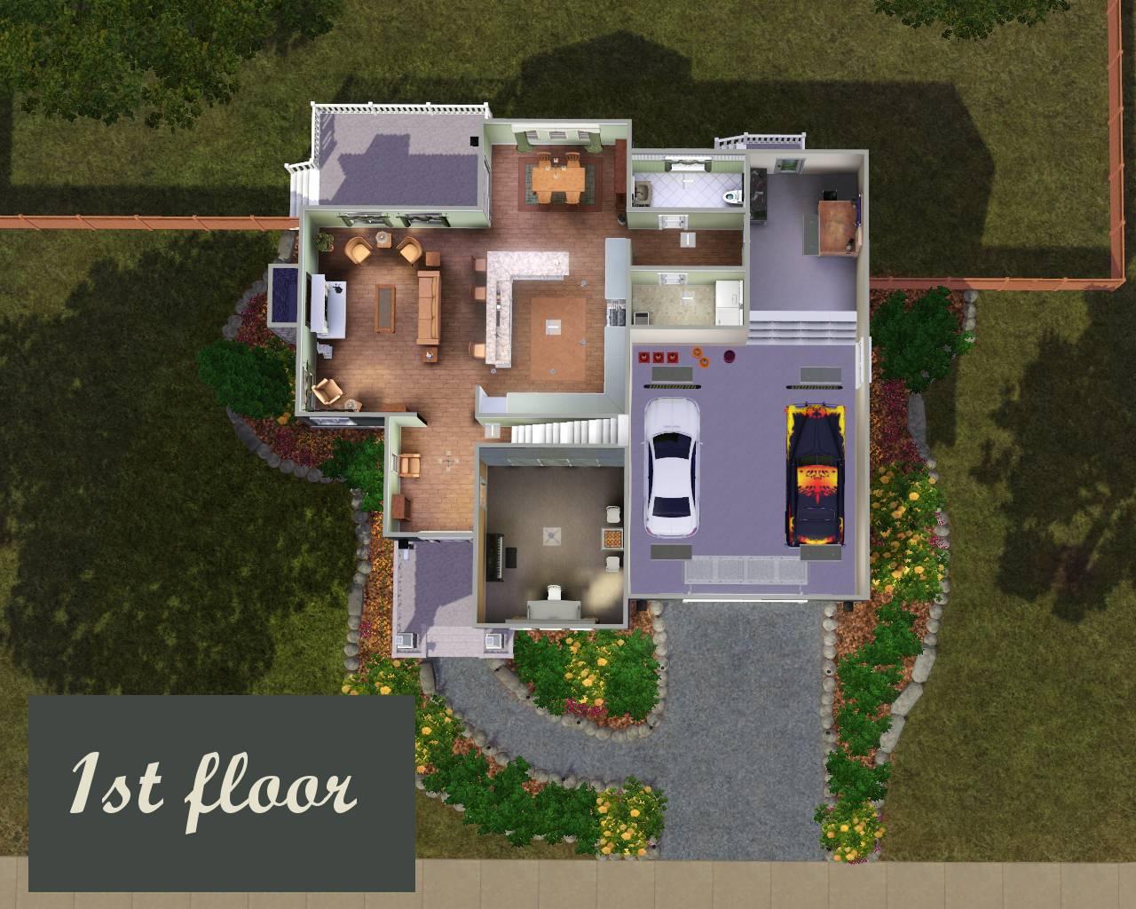 Mod the sims the stylish suburban for Suburban house plans