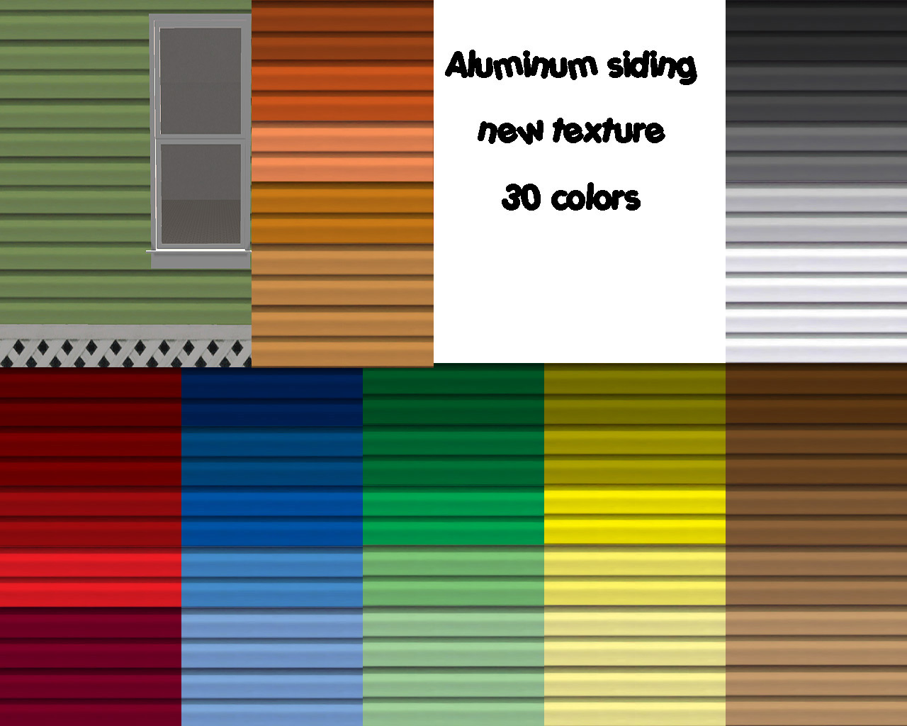 Mod the sims aluminum siding new texture 35 colors for New siding colors
