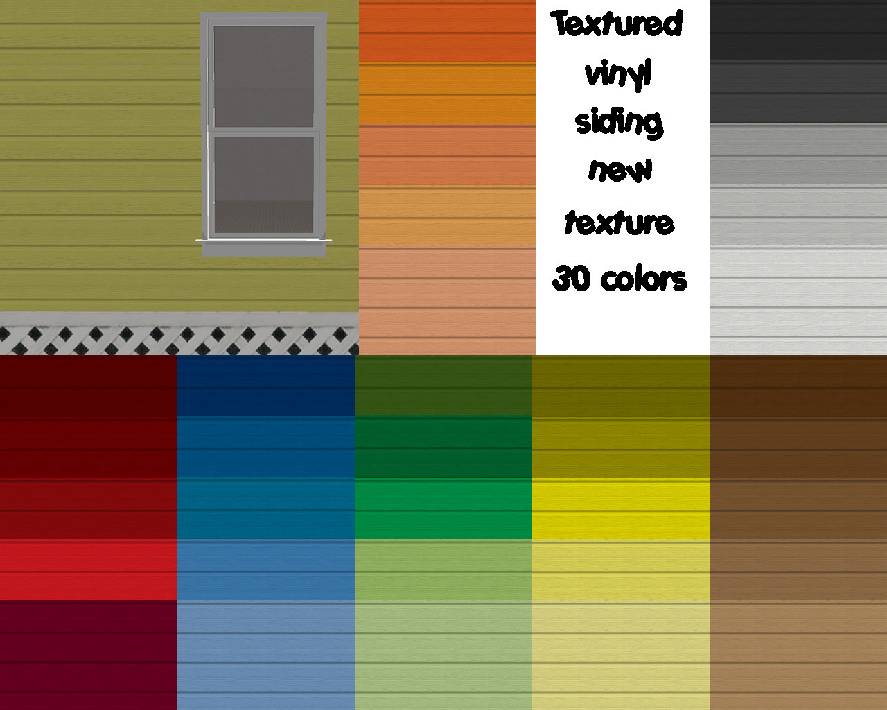 Mod the sims new siding textured vinyl siding in 35 for Popular vinyl siding colors