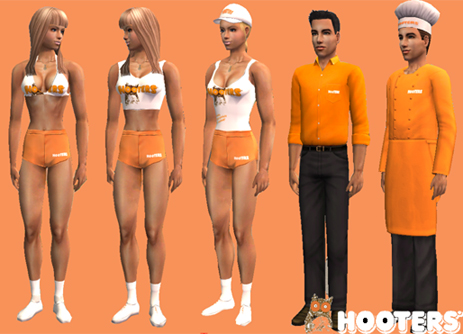 Mod The Sims - Hooters Uniforms
