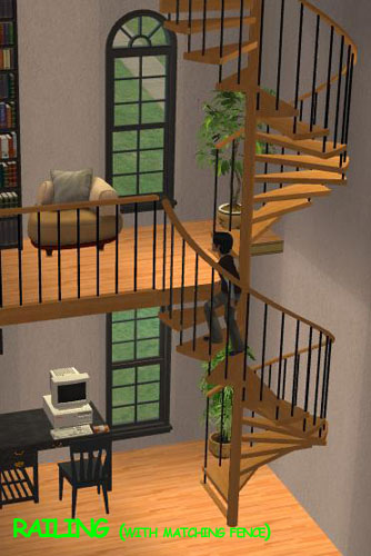 Mod the sims pack of fully animated spiral stairs for Sims 4 balcony