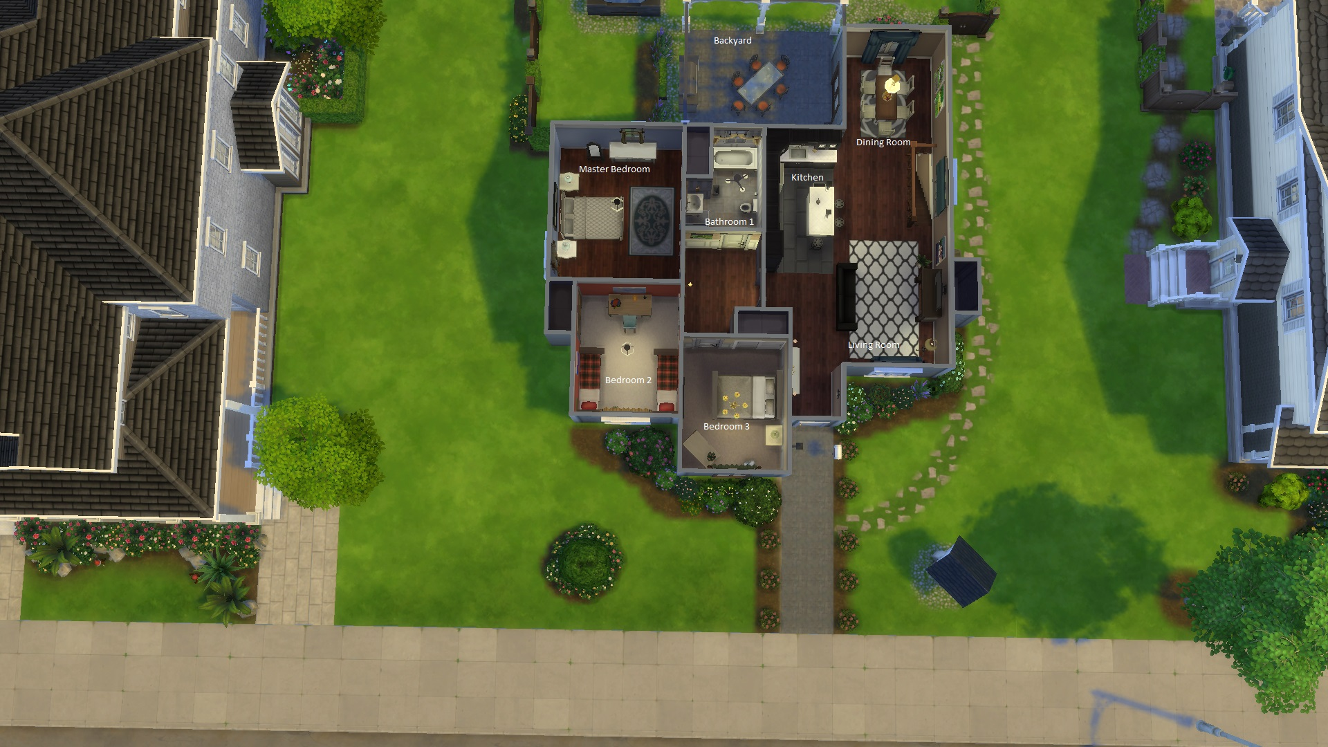 Mod The Sims Suburban Family Home 3 1 Bed 2 Bath
