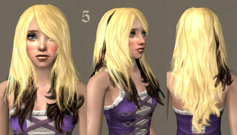 Mod The Sims - Mixed recolors of XM Sims Hair 15. Natural colors