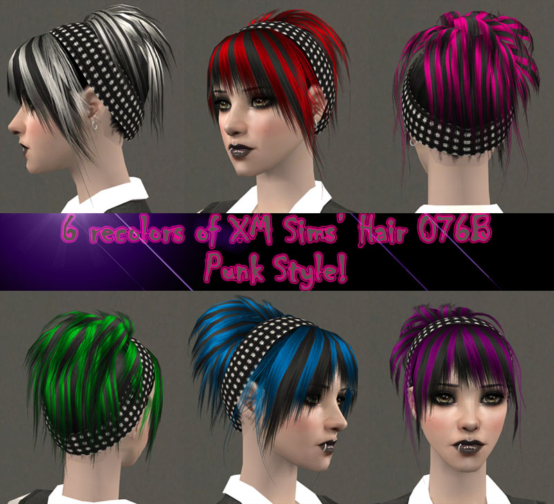 Sims 2 Hairstyles: 6 Streaked Recolors Of Flora's Hair 076B