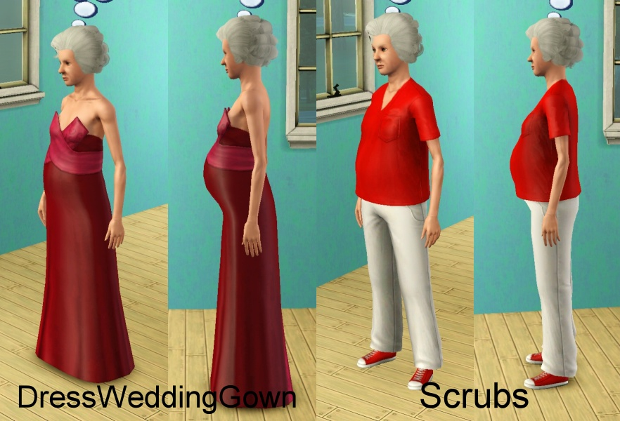 Mod The Sims - Elder pregnant clothes and nude