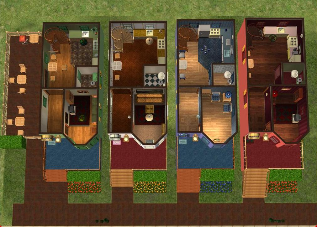 Mod the sims bella 39 s belles townhomes with real for Sims 2 floor plans