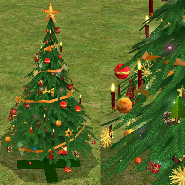 Mod The Sims - Christmas Tree in Red-Gold and Blue-Silver