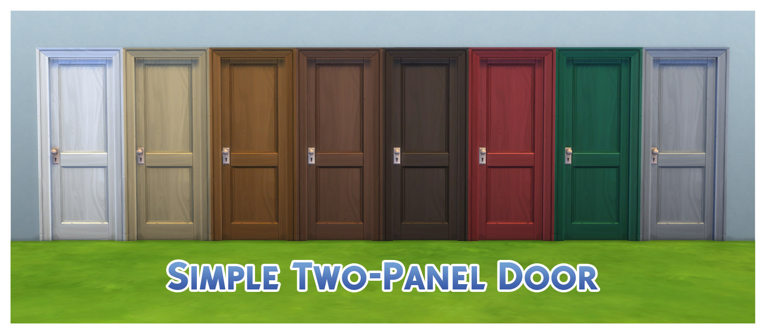 The additional colours all show under the original door thumbnails in the catalogue listed after the original white and for the same price. & Mod The Sims - Door Colour Equality