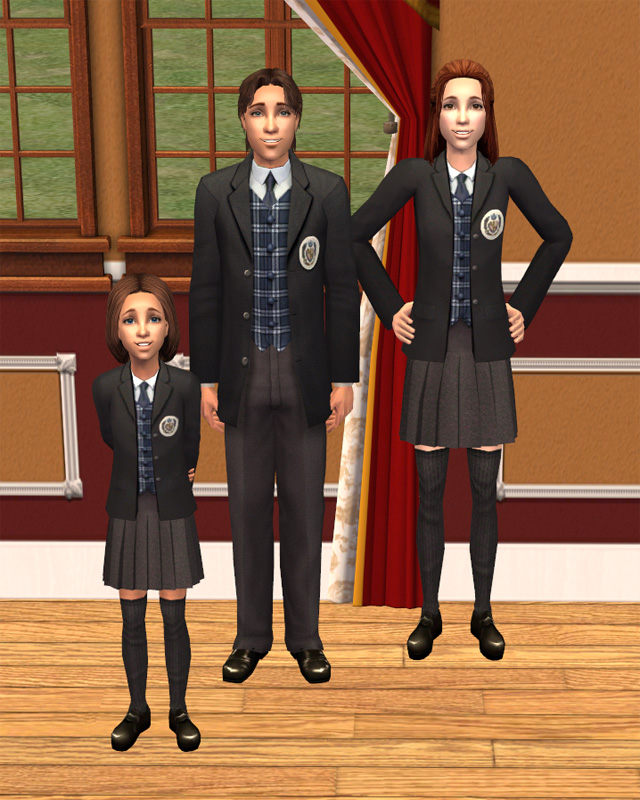 Mod The Sims - Black and blue default replacement for private school