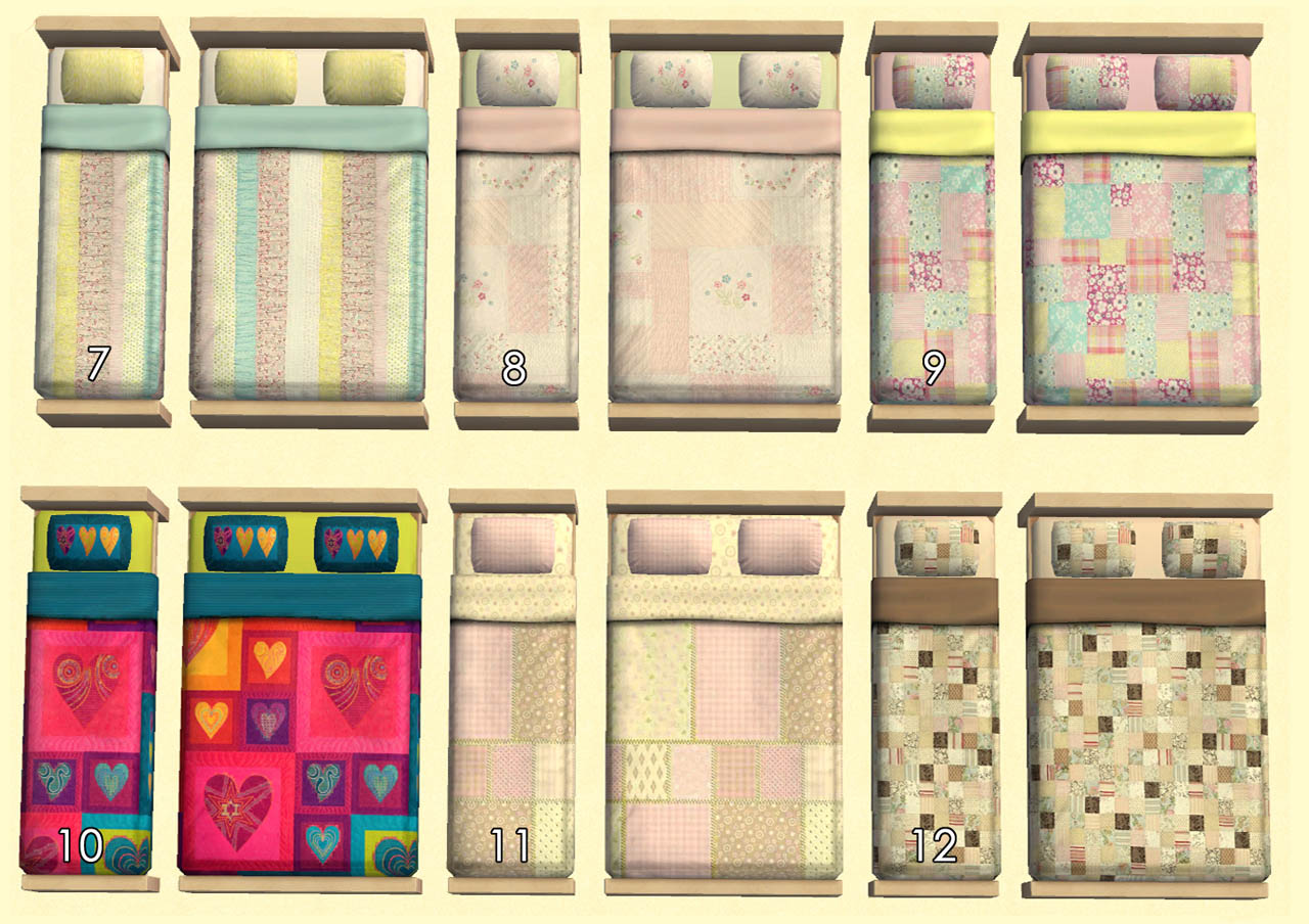 Mod the sims quilts gone wild 34 quilted beddings.