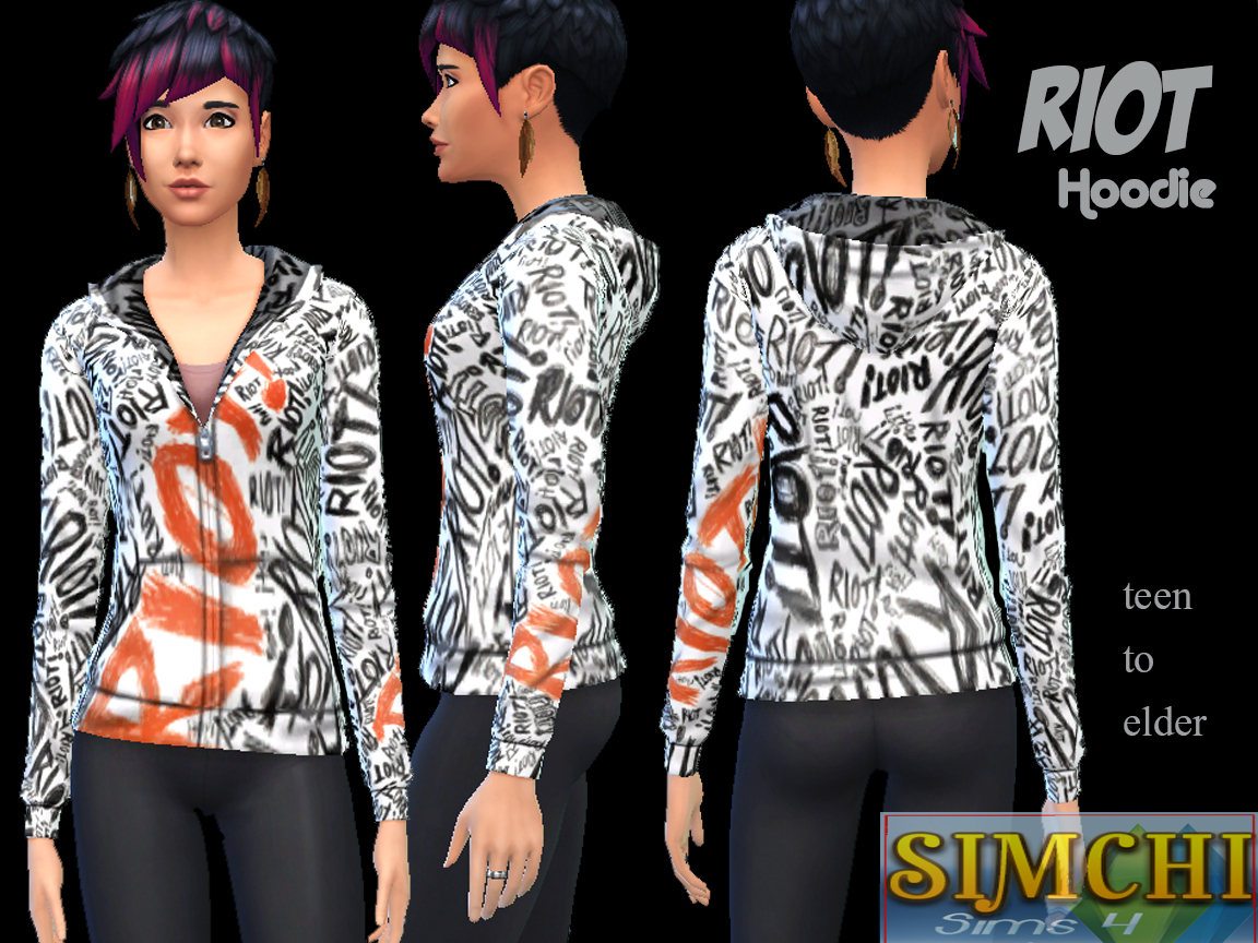 Mod The Sims - Riot Hoodie For the Gals