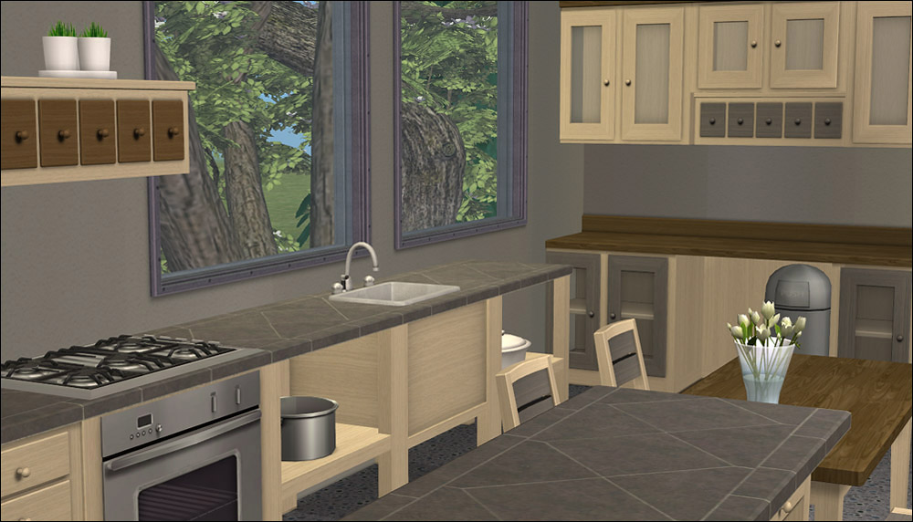 Mod the sims 17 recolors of buggybooz 39 s kitchenbasic for Sims 2 kitchen ideas