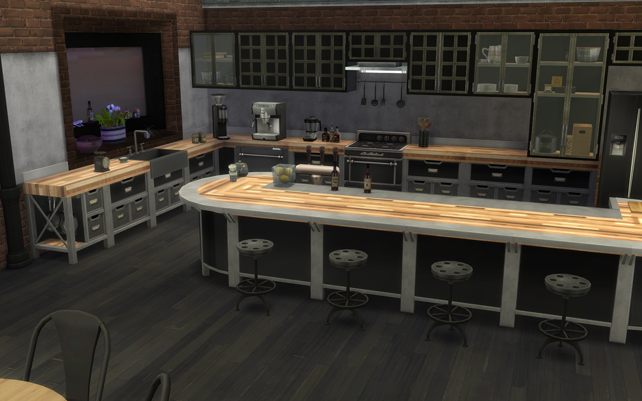 Mod The Sims Modern Industrial Style Kitchen Set