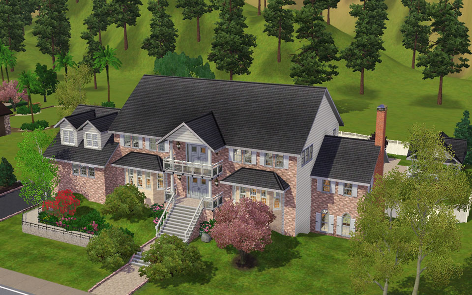 Mod the sims magnificent brick large family home for Big family house