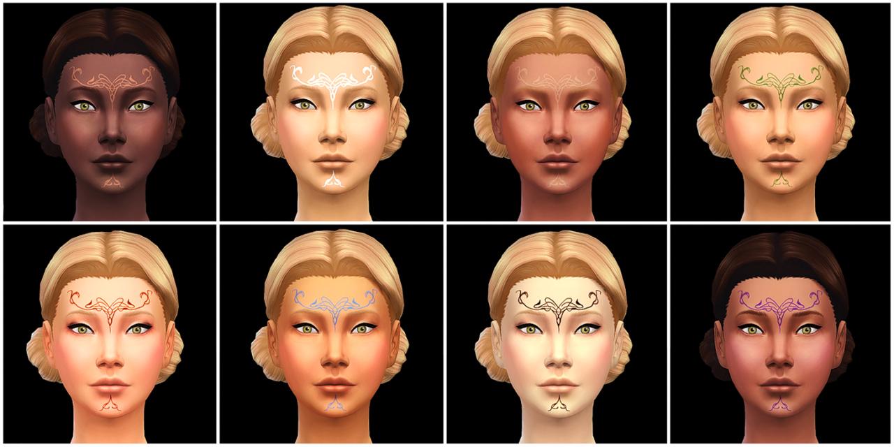 Mod The Sims - Dalish Vallaslin (Facial Tattoos) - UNISEX
