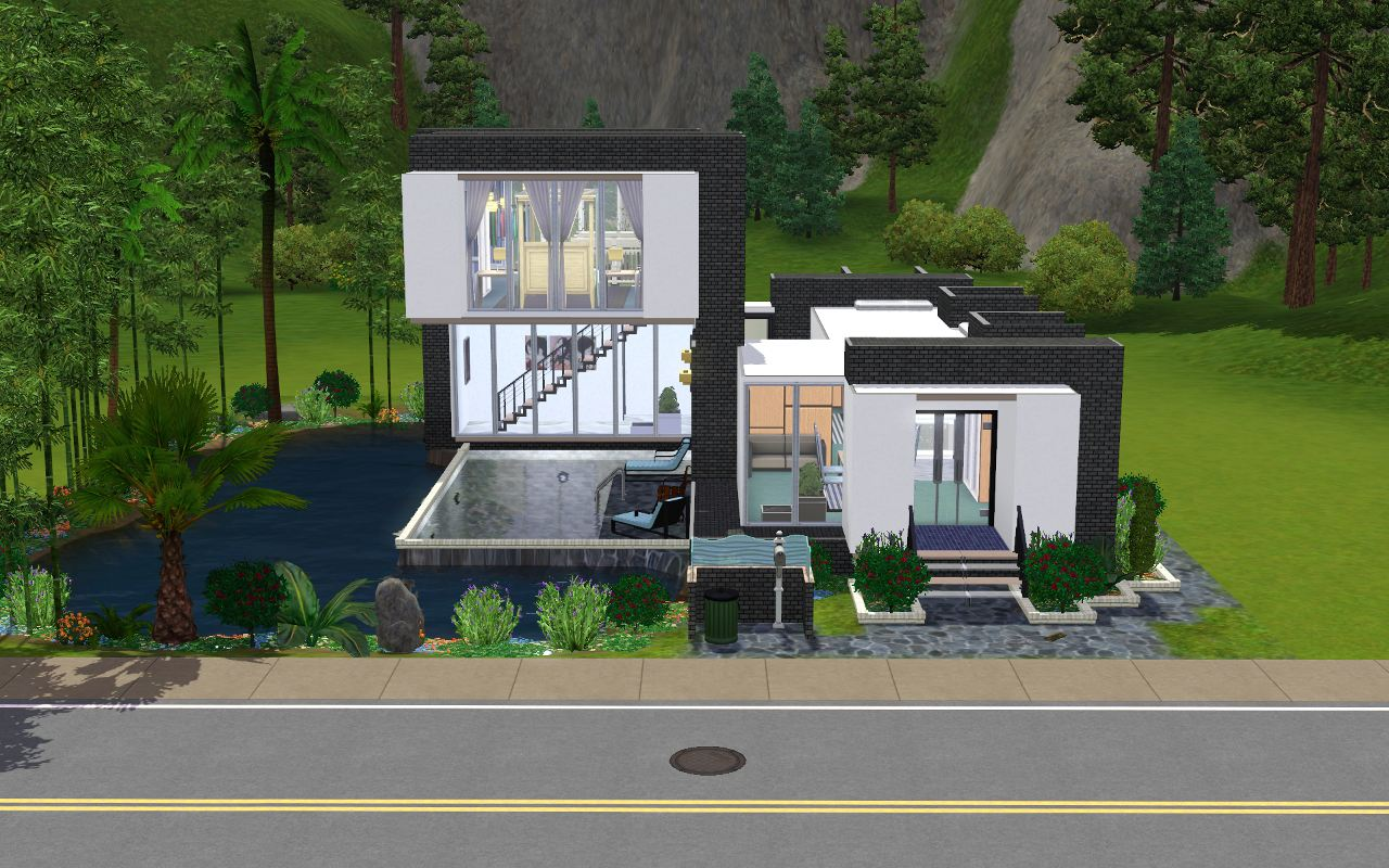 Mod the sims 39 pool cubed 2 bd 1 br modern home for Sims 4 simple modern house