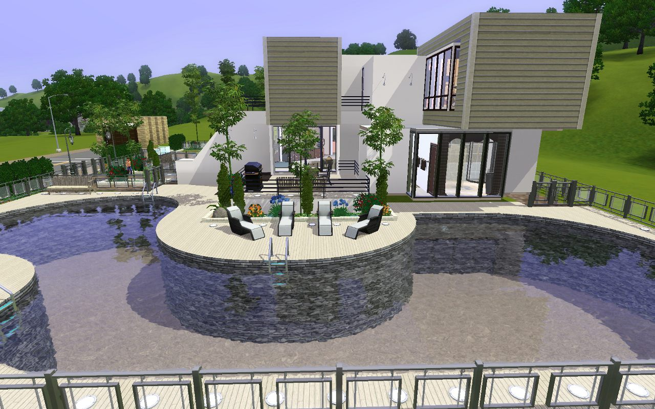 Mod the sims 2400 pinochle drive modern luxury home for Pool design sims 3