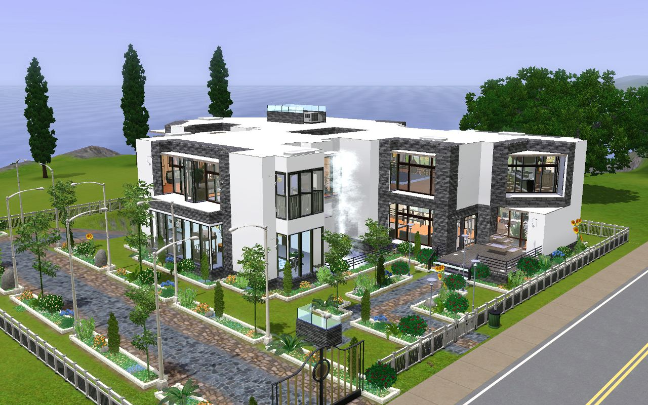 Mod the sims 20 summer hill drive modern 5bd 3br mansion for Modern mansion