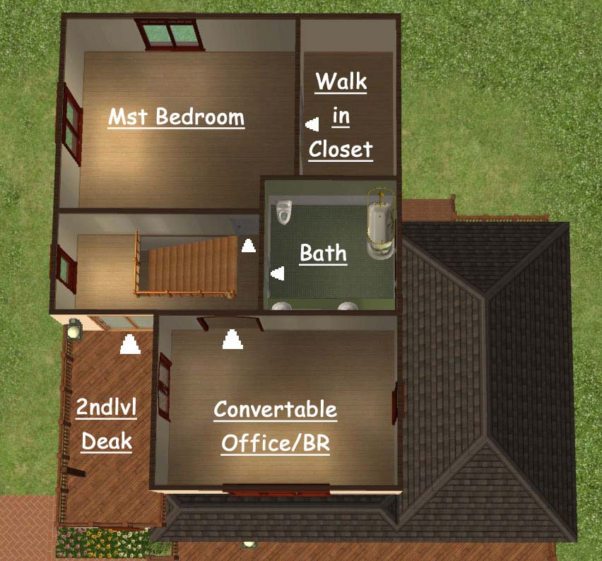 Mod the sims middle income 2br 2bath home for Master bathroom with walk in closet