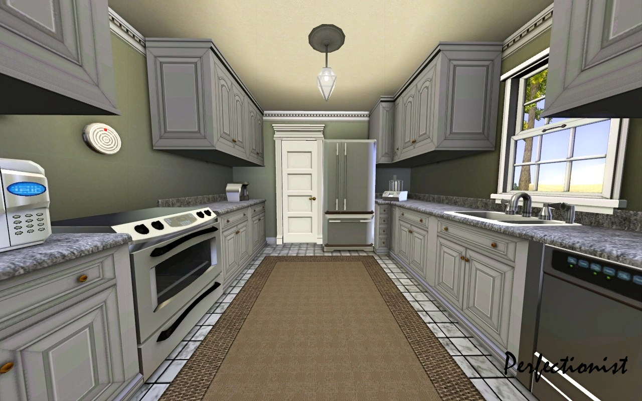 Mod the sims 39 3 bedroom green country style house 39 ts3 for Kitchen remake